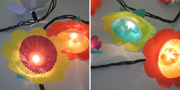 Cupcake liner flower string lights