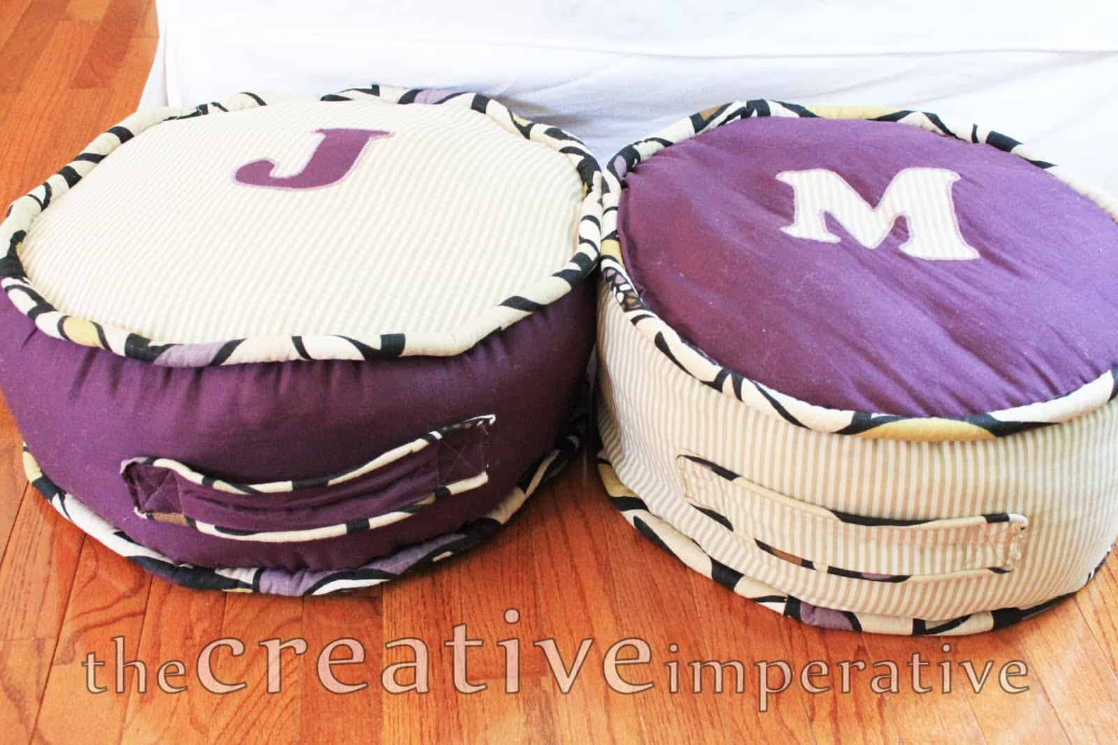 Cute monogrammed floor pillows
