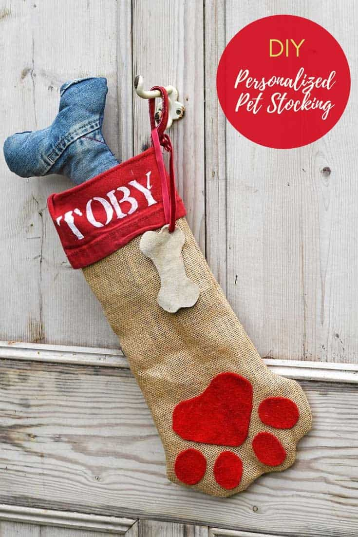 Cute personalized dog christmas stocking