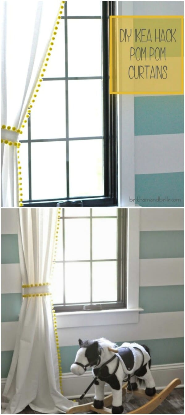 Diy ikea hack pom pom curtains