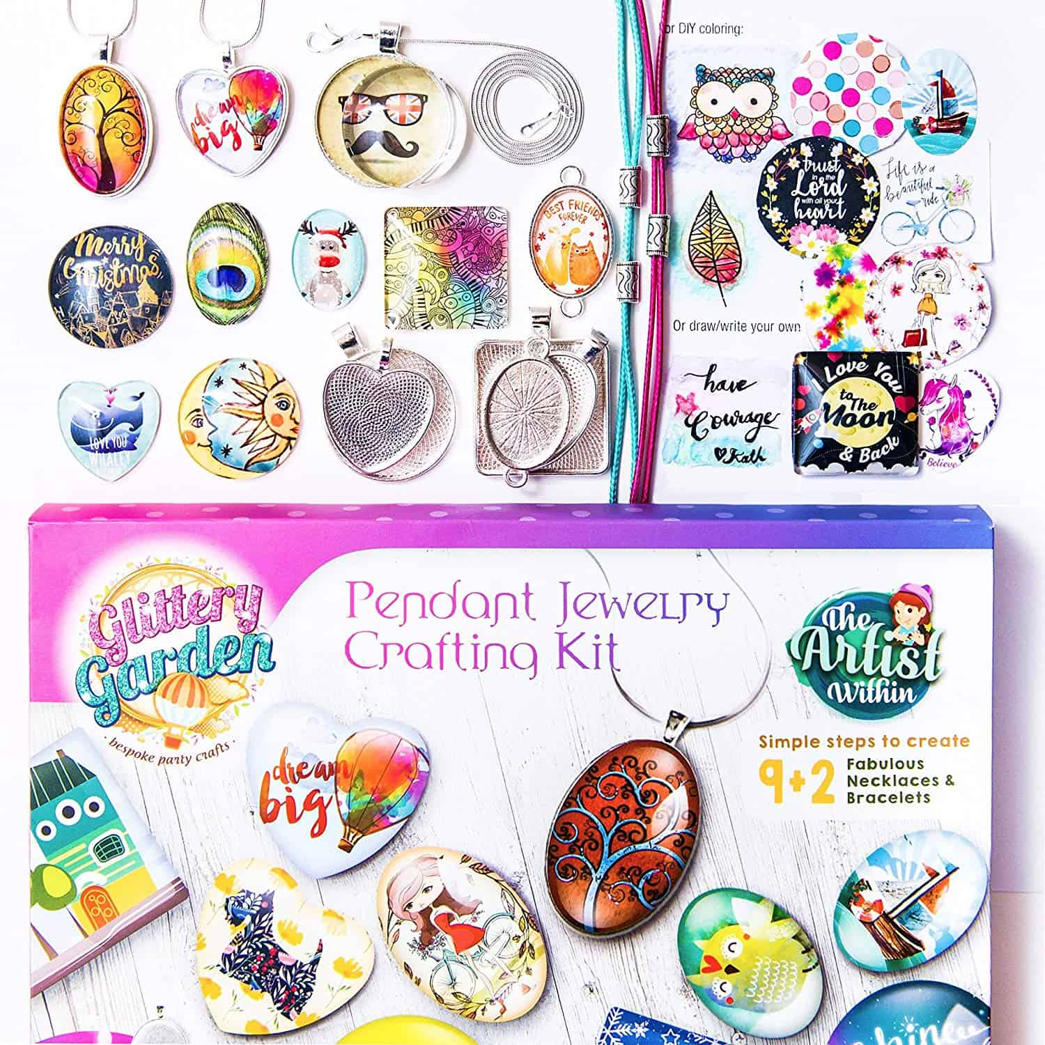 Diy necklace pendant and bracelet crafting set with glass beads and charms