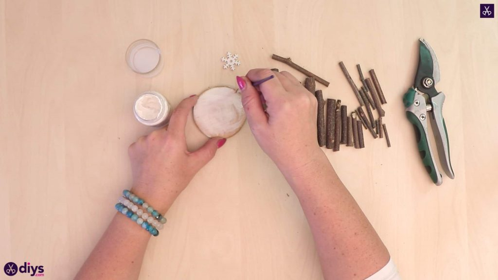 Diy twig christmas tree glue and paint