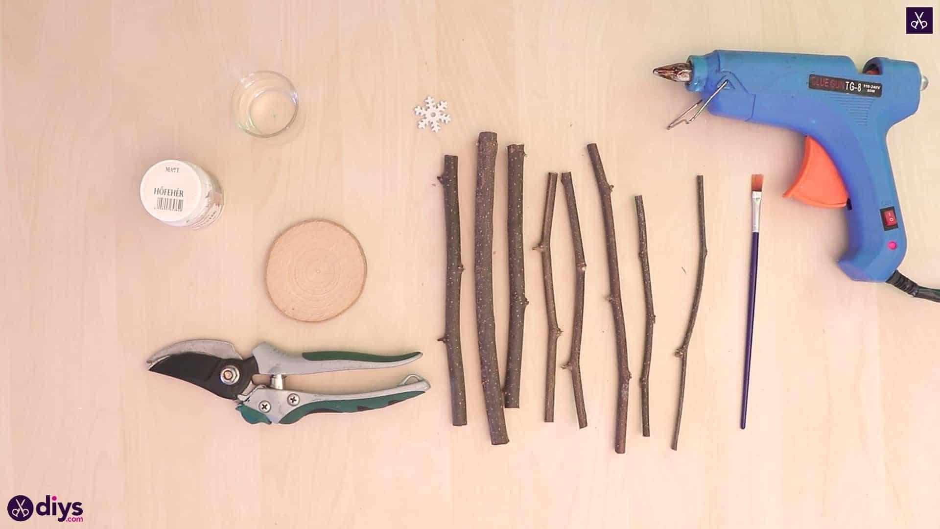 Diy twig christmas tree materials