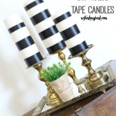 Diy black and white washi tape candles