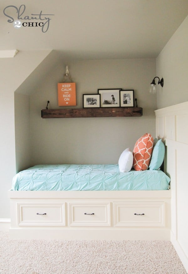 Diy built in wall indent storage bed