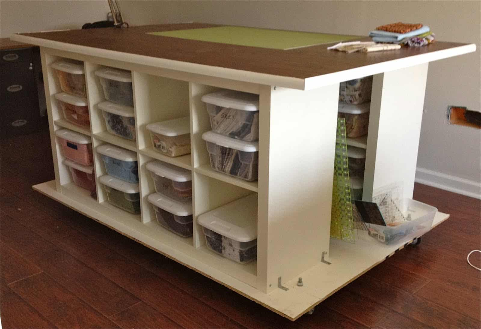 Diy crafting table with cubbies and wheels