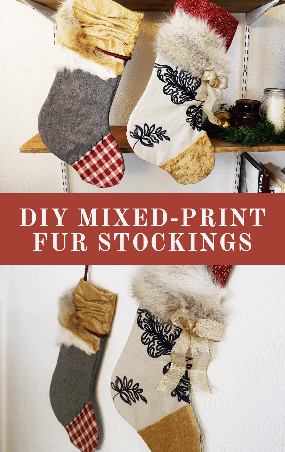Diy mixed print faux fur stockings