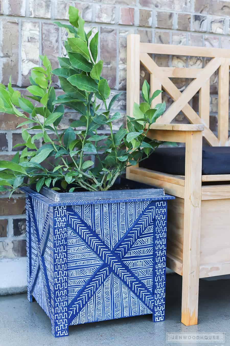 Diy mud cloth painted planter