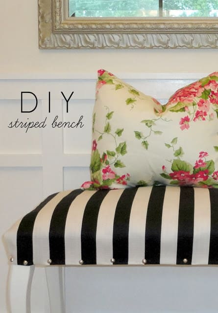 Diy striped tufted bench
