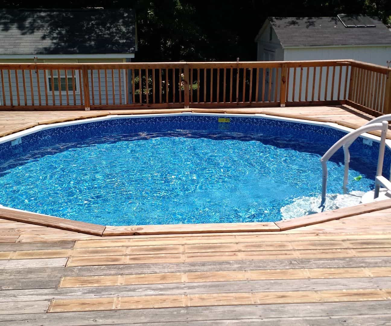 Diy sunken deck pool with a solar heater