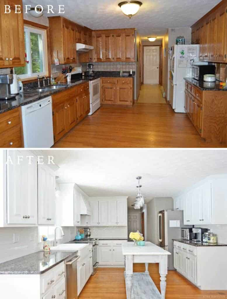 Diy white painted kitchen cabinets and countertop replacement