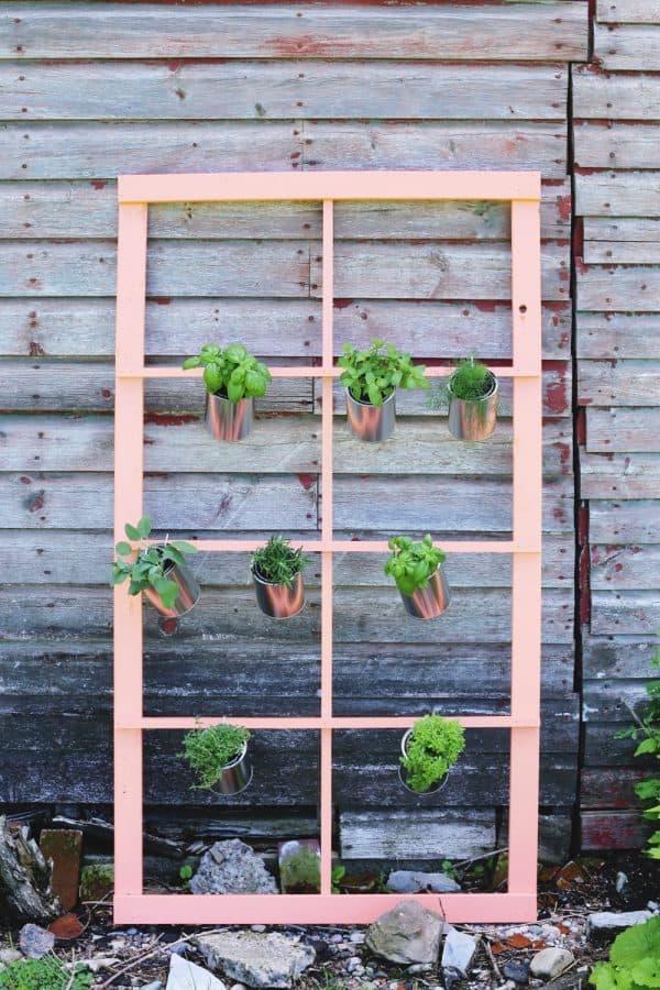 Diy window trellis herb garden