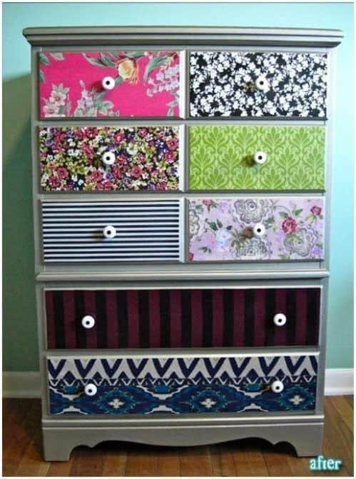 Eclectic fabrics decoupage dresser