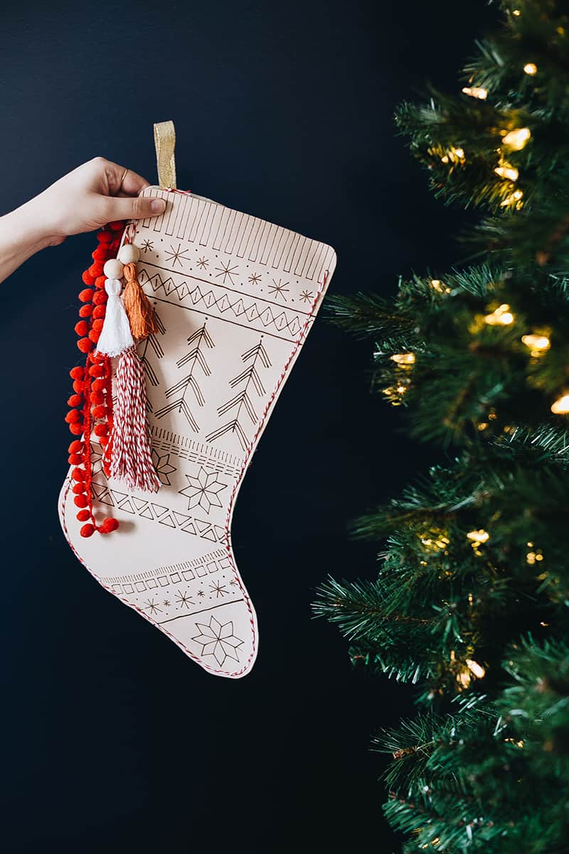 Fair isle patterned leather stocking