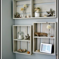 Faux vintage weathered crate shelves