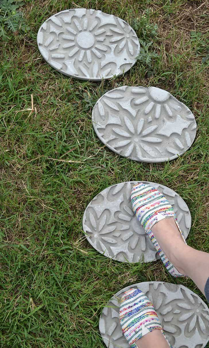 Floral imprinted concrete stepping stones