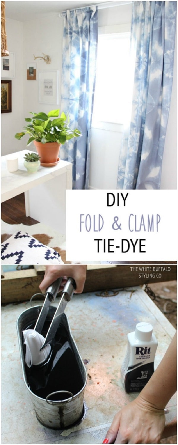 Fold and clamp tie dye curtains