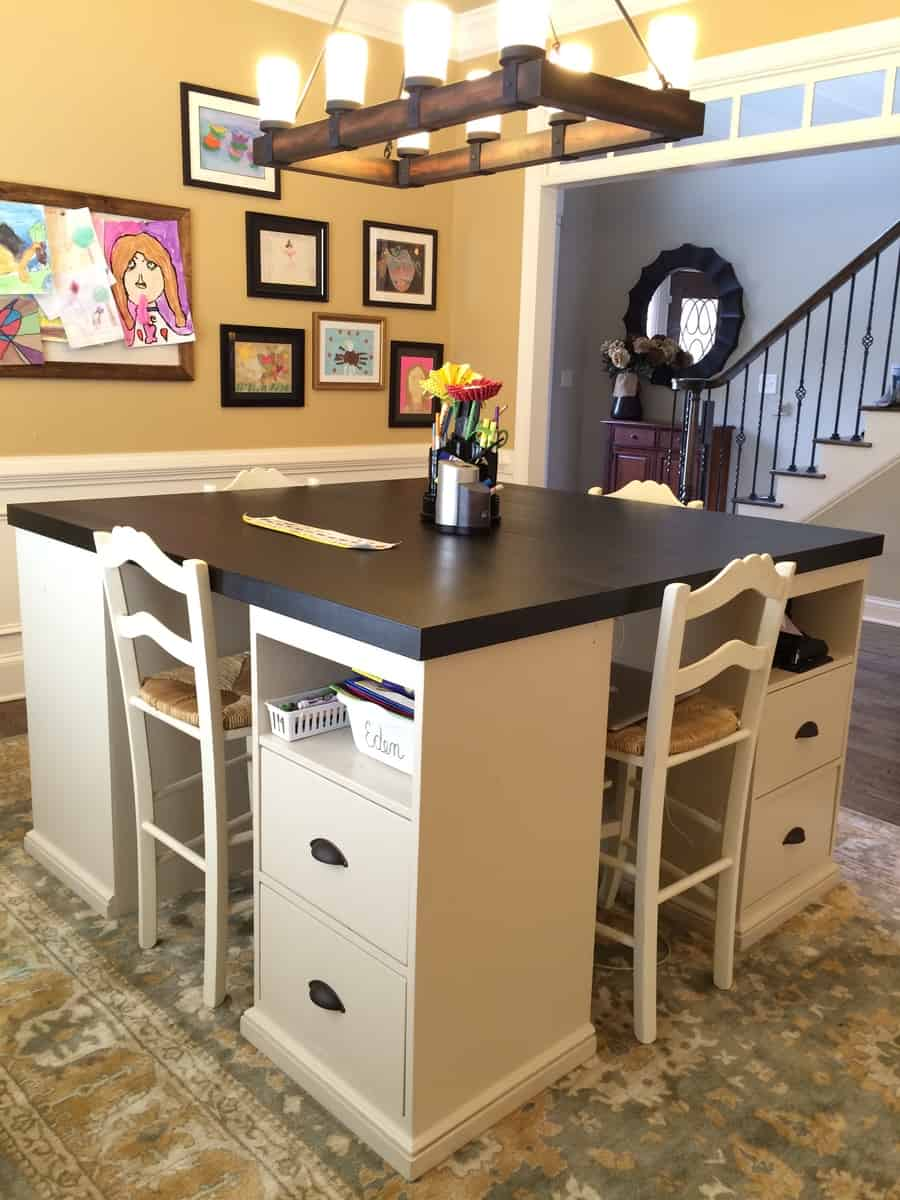 Four station jumbo crafting desk with drawers