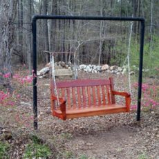 Frame hanging porch swing for homes with no porch