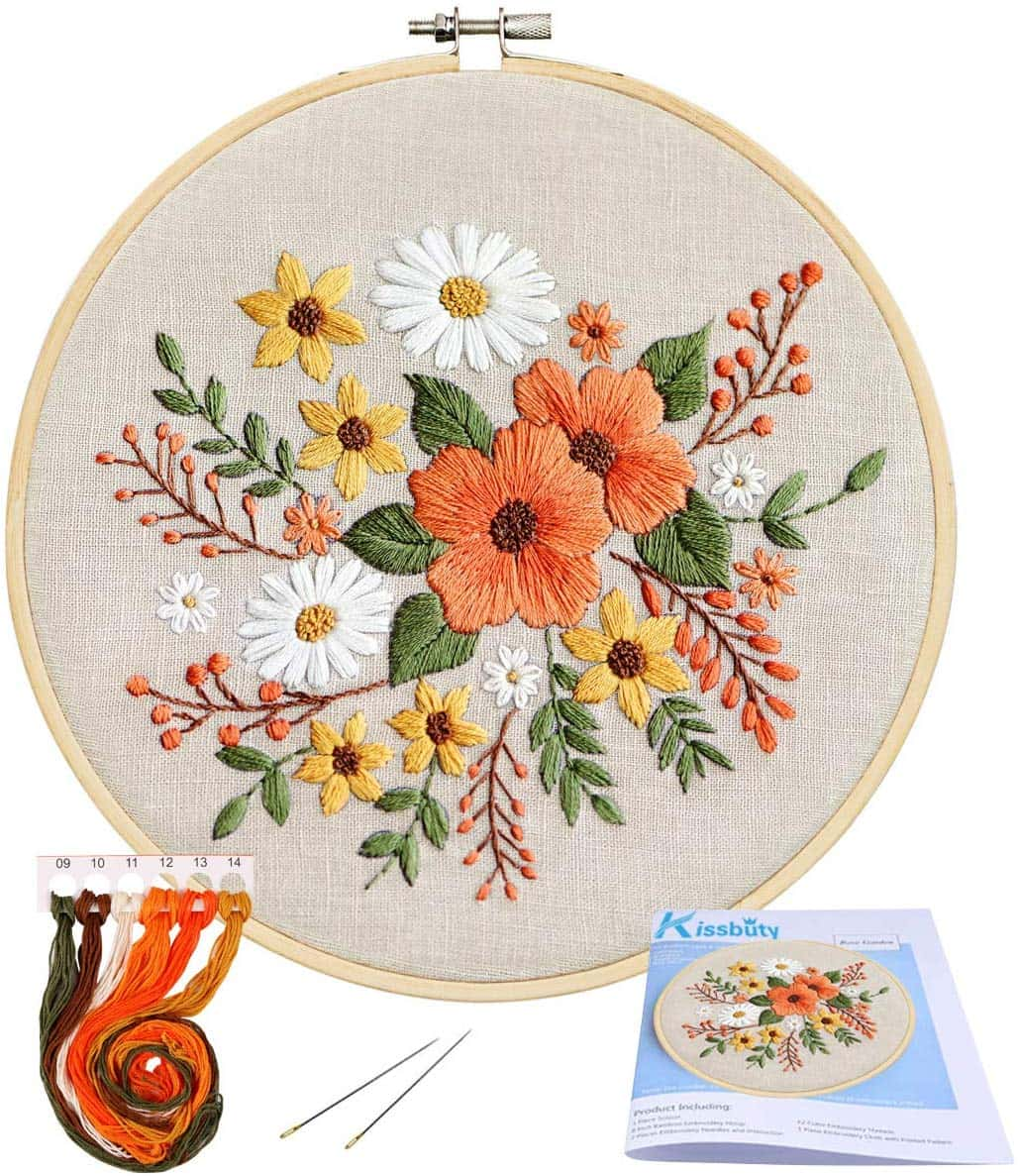 Full range of embroidery starter kit with pattern