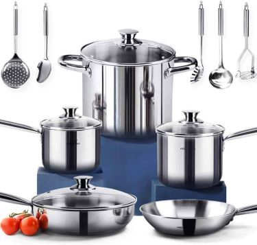 Homi chef 14 piece nickel free stainless steel cookware set