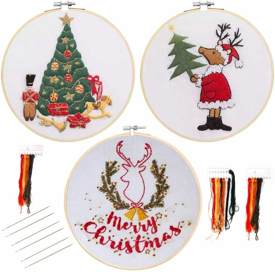 Heflashor 3 pack christmas embroidery kits