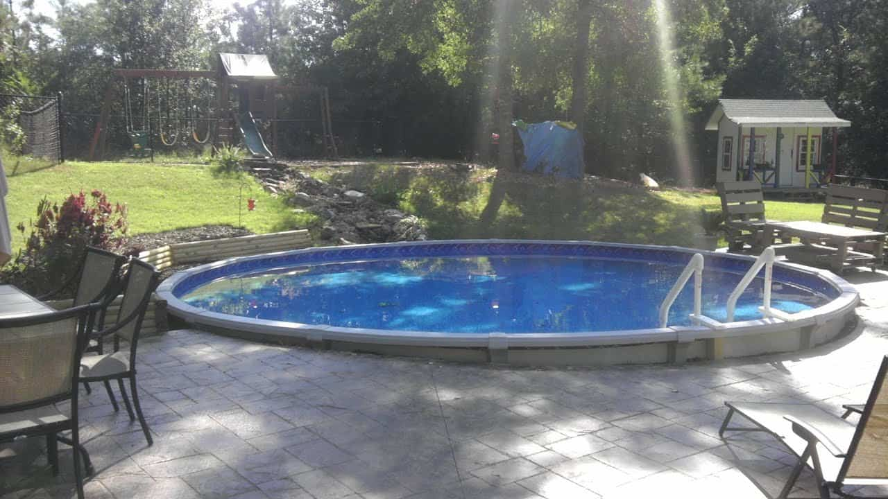How to drop and above ground pool into a stone patio