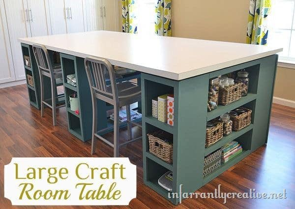 Huge quadruple seater craft table with shelves