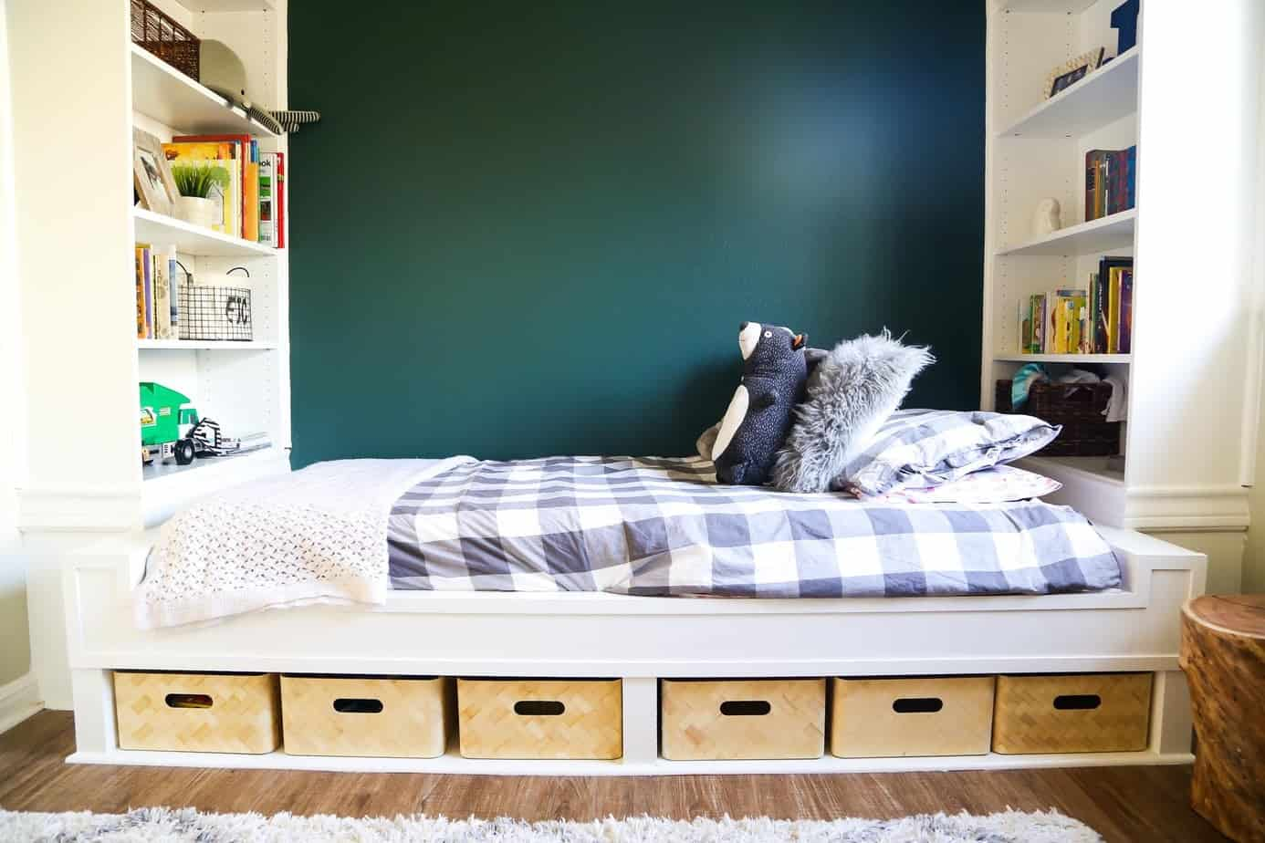 Ikea hack bed made from bookcases