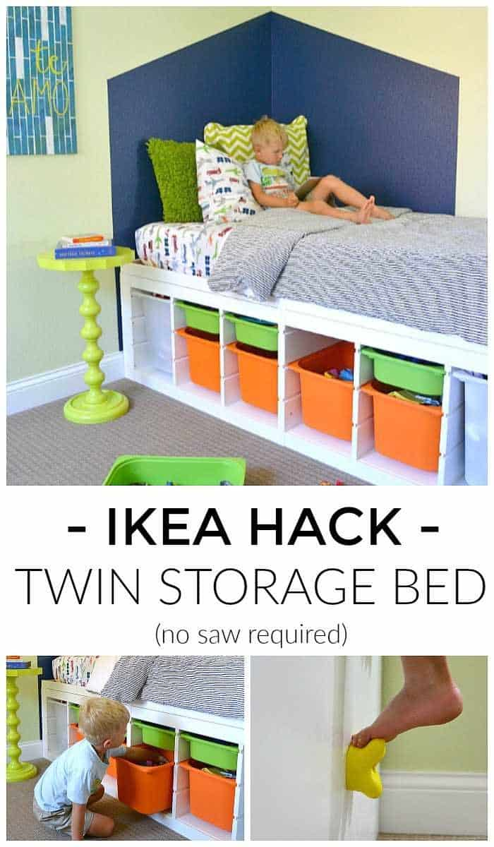 Ikea hack cubbies shelf twin storage bed