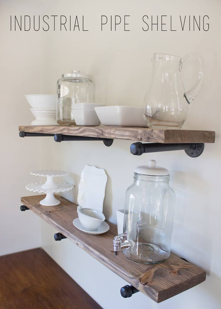 Industrial wood and pipe shelving