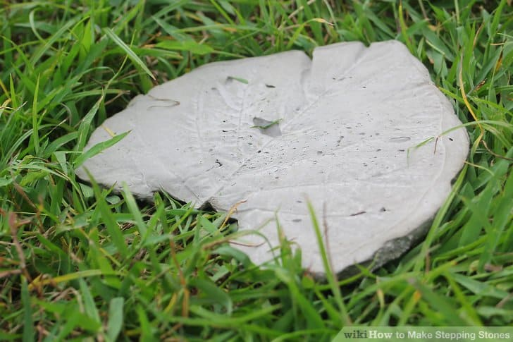 Leaf printed concrete stepping stones