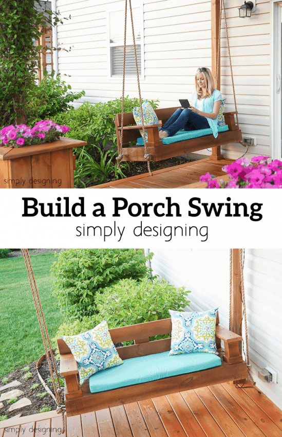 Low back porch swing with a cushion seat