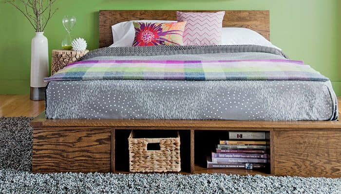 Low plywood storage bed