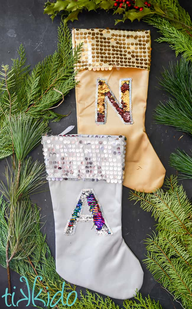 Mermaid sequin monogram stockings