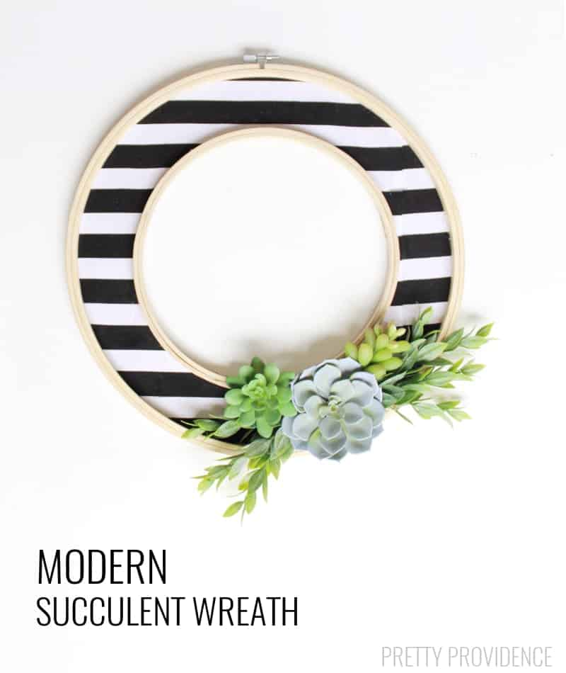 Modern black and white succlent wreath