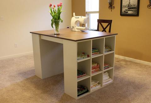 Modular craft table with double cubby sides