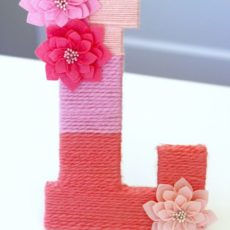 Ombre yarn wrapped flower monogram