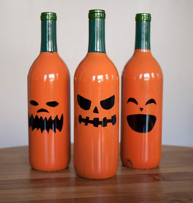 Painted wine bottle jack o lanterns