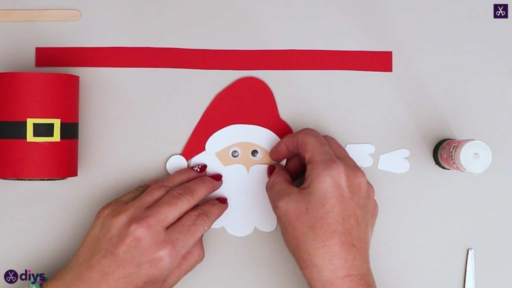 Paper santa candy holder glue