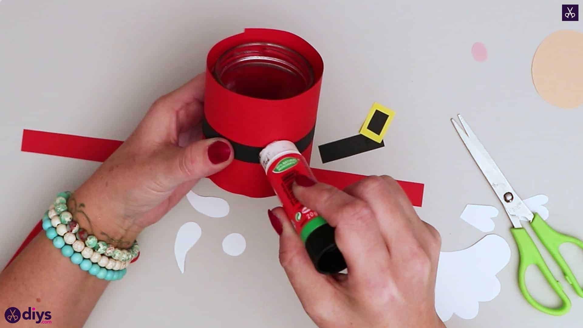 Paper santa candy holder glue half