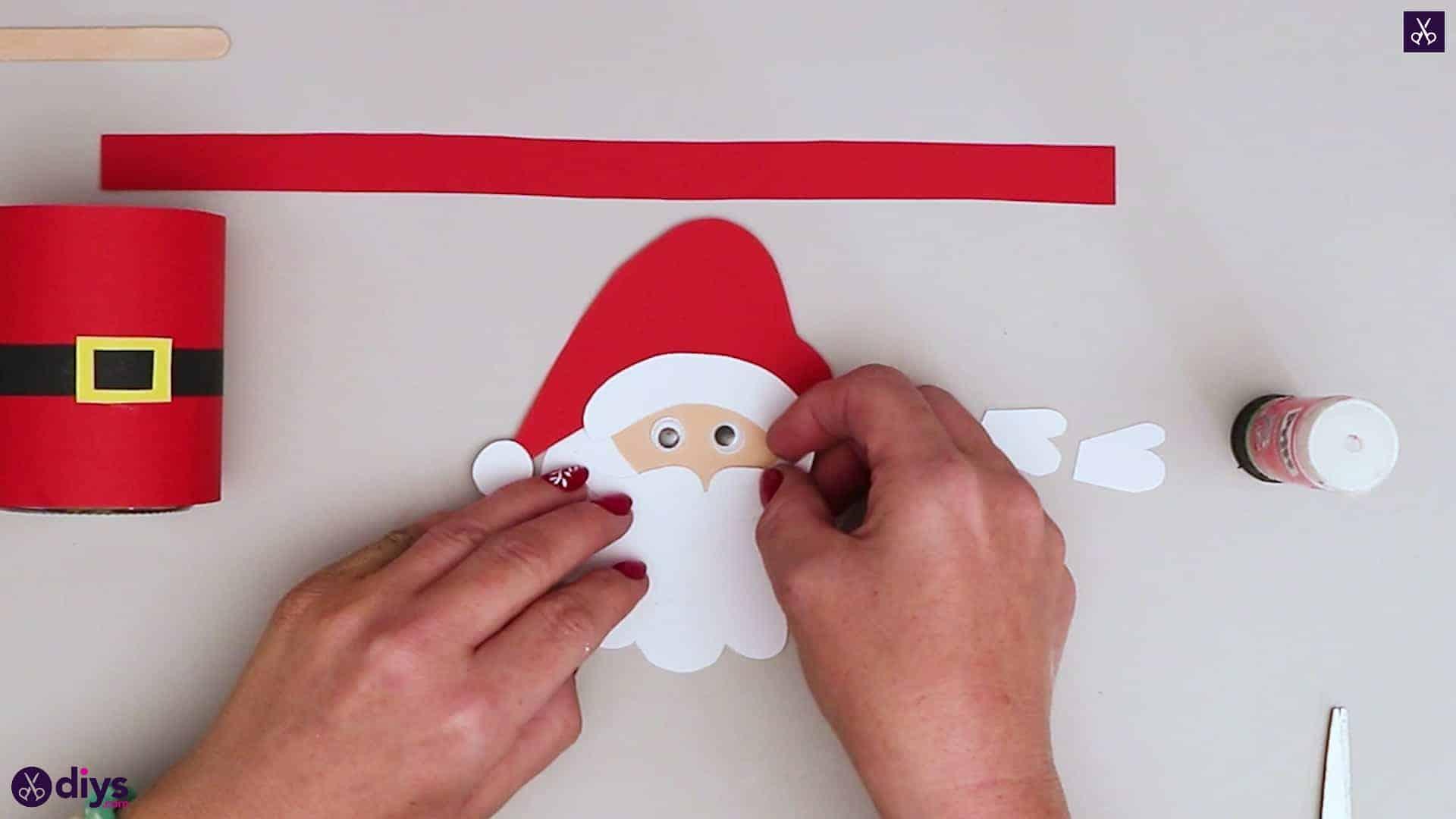 Paper santa candy holder glue