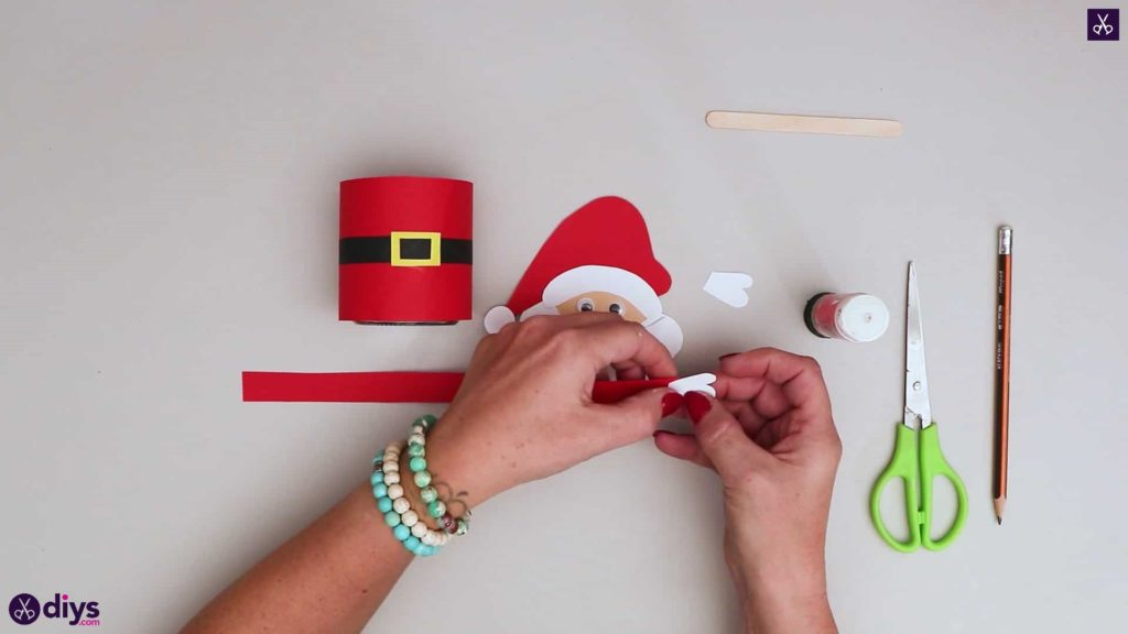Paper santa candy holder step 14