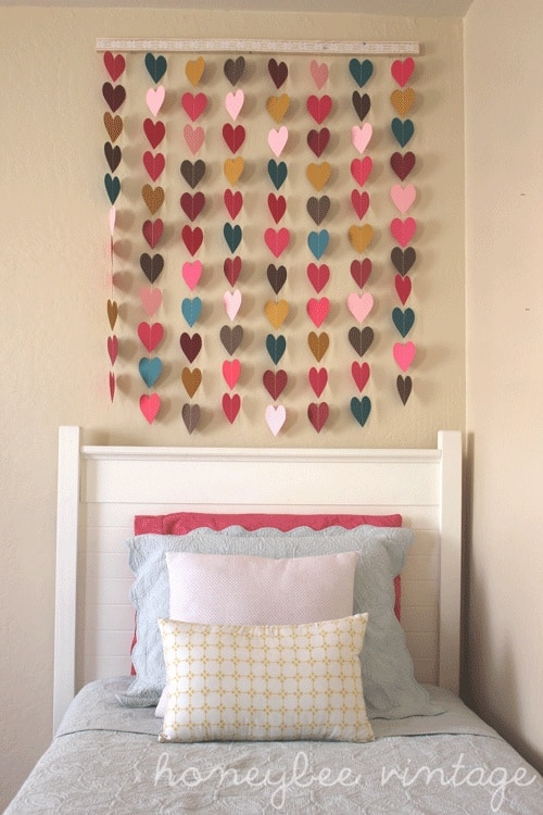 Paper heart garlands wall mobile