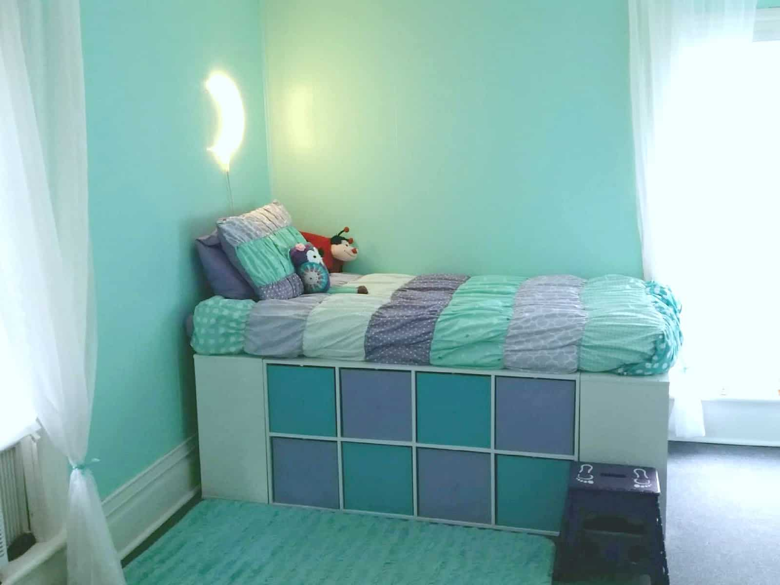 Pastel cubbies storage bed