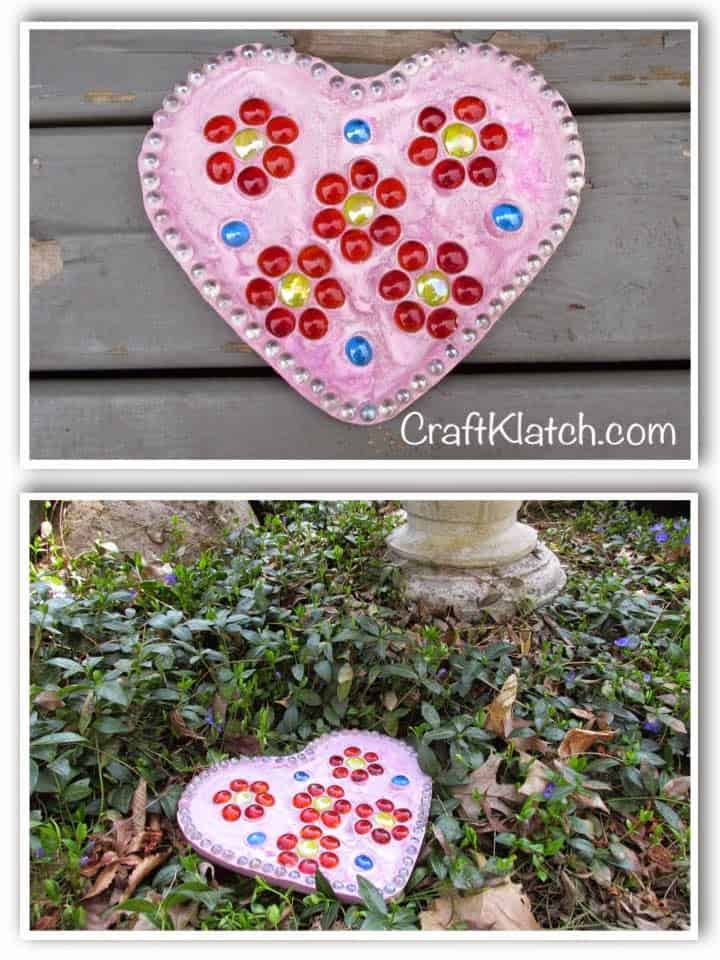 Pink heart stepping stones