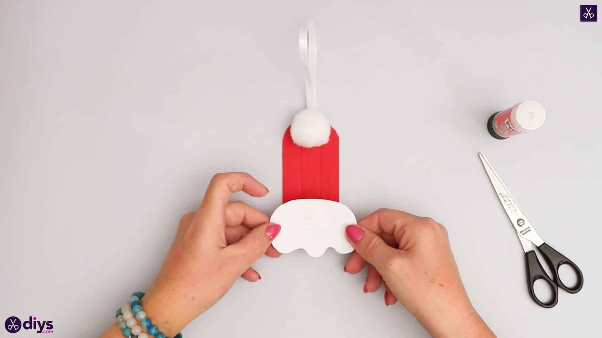 Popsicle stick santa hat ornament display