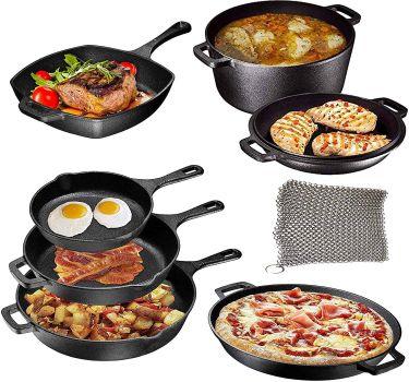 Pre seasoned cast iron 8 piece camping set