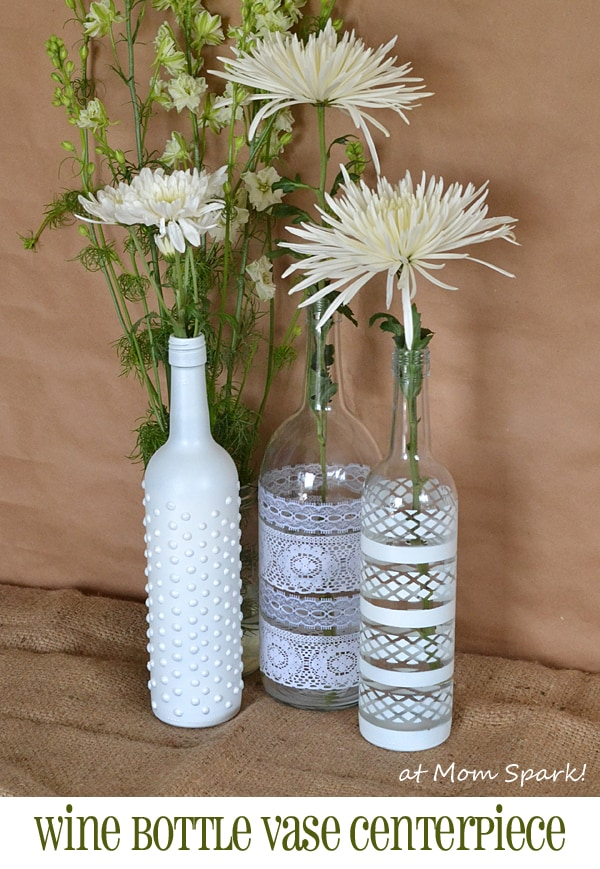Pretty boho wine bottle flower vases