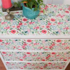 Pretty floral fabric decoupage dresser